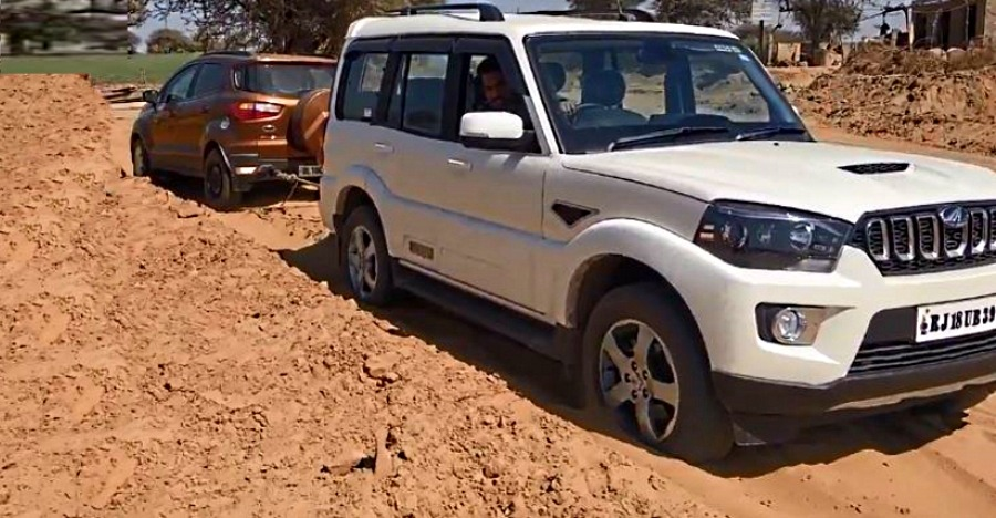 Ford EcoSport gets STUCK, Mahindra Scorpio 4X4 pulls it out [Video]