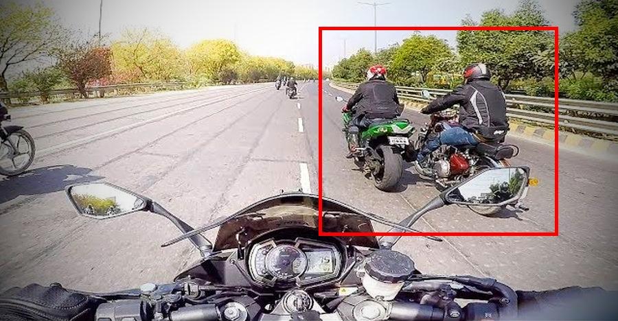 Royal Enfield Classic Pushing Kawasaki Ninja Zx14r Superbike