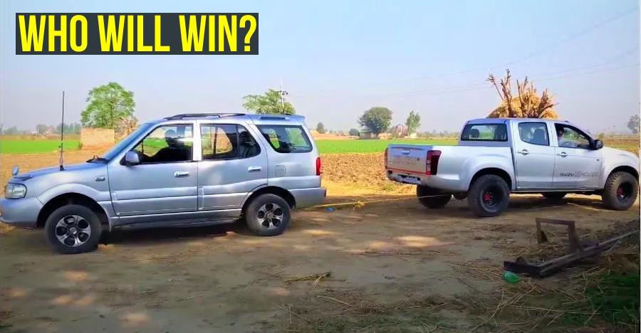 Tata Safari vs Isuzu D-Max V-Cross in a tug of war [Video]