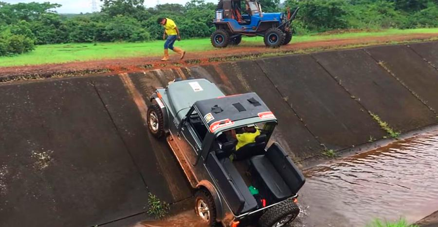 Mahindra Thar 4X4 in a canal: Can it climb out? [Video]