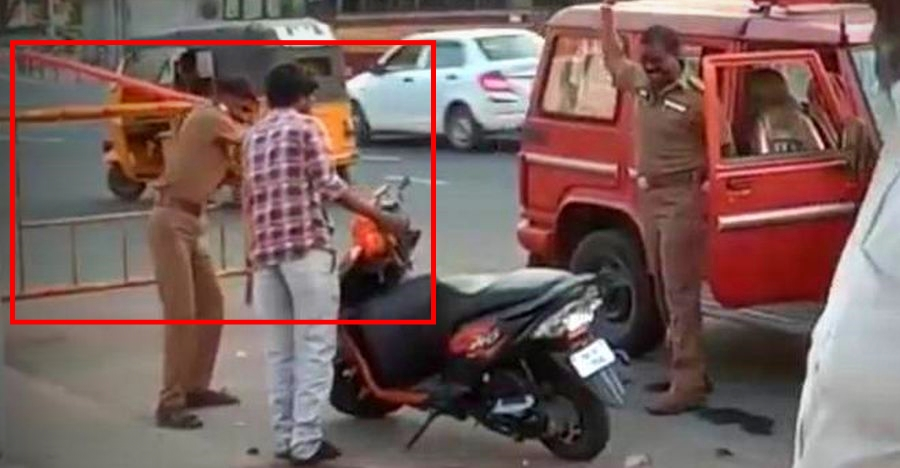 Watch cops intentionally damaging Honda Dio for wrong parking: Suspended by higher authorities
