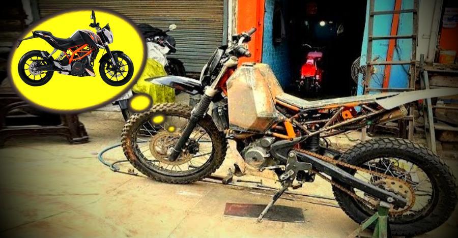 KTM 390 Duke transformed into a dirt bike [Video]