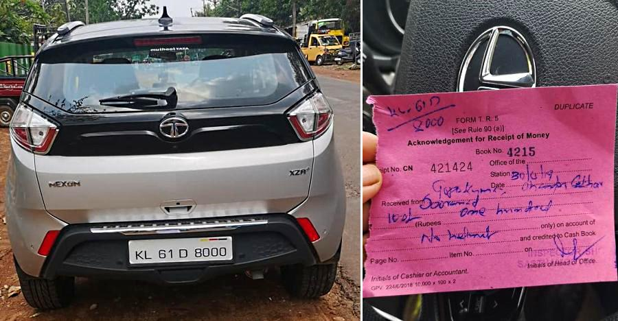 Tata Nexon driver fined for 'not wearing a helmet'