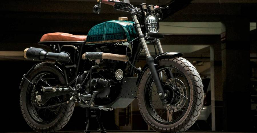 This Royal Enfield Electra 350-based cafe racer is truly a work of ART!