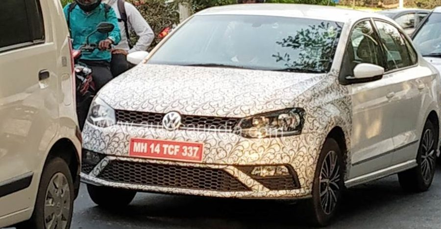 Volkswagen Vento with new 1.0 liter turbo petrol engine SPIED testing