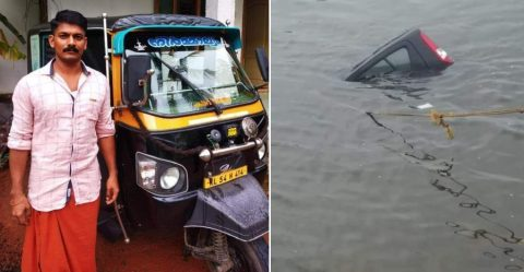 Kerala Auto Driver Saves Maruti Ritz Passengers From Drowning Featured