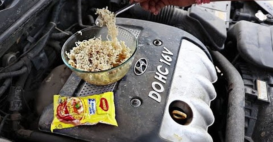 Cooking Maggi on the engine of a Hyundai Sonata Embera: Will it work? [Video]