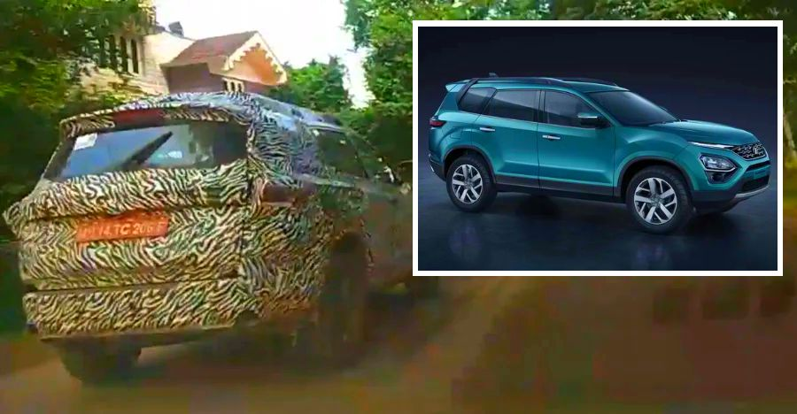 Upcoming 7 Seater Tata Harrier Cassini Spied Up Close On Video