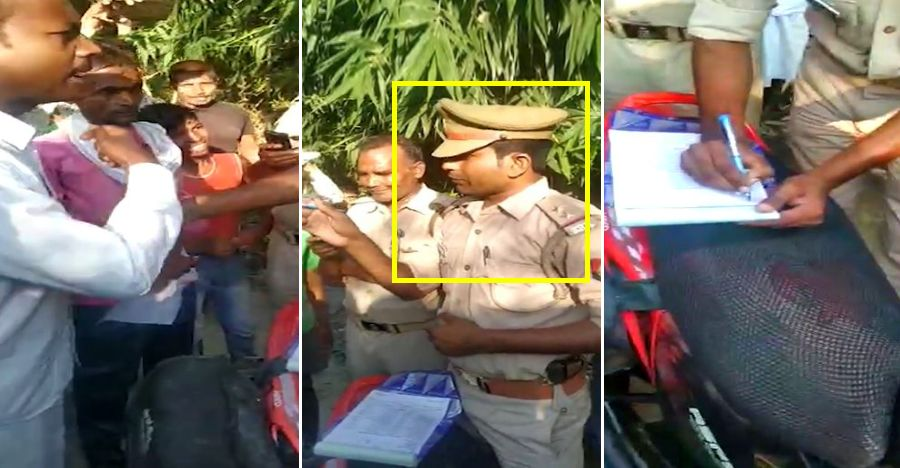 Villagers force Police Inspector to FINE himself for not wearing a helmet [Video]