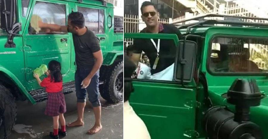 Ziva Dhoni helps dad MS Dhoni wash the Nissan Jonga One-Ton pick up truck [Video]