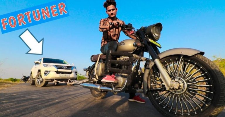 Royal Enfield Classic 350 Pulling A Toyota Fortuner Featured