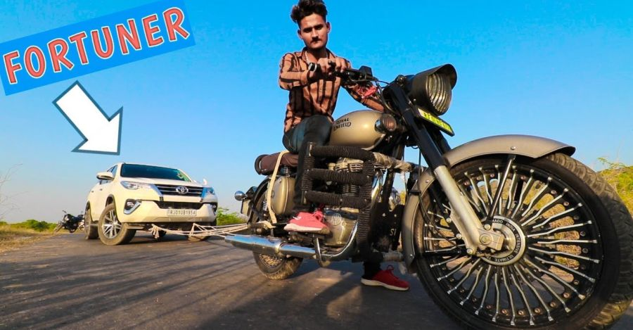 Can a Royal Enfield Classic 350 tow a Toyota Fortuner? [Video]