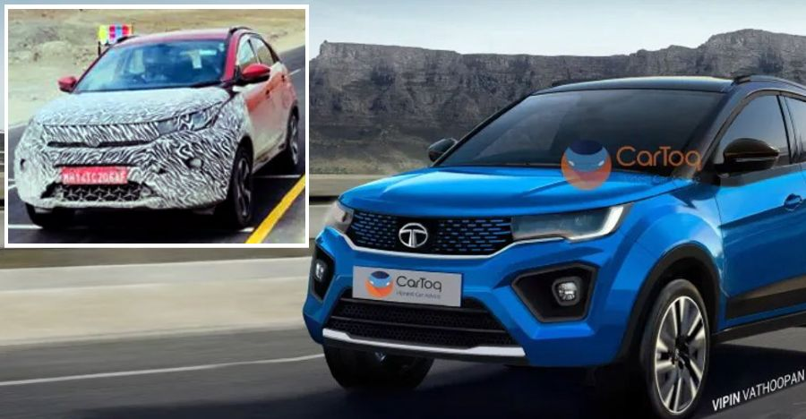 Upcoming Tata Nexon Facelift spied again: Shows off Harrier inspired front end