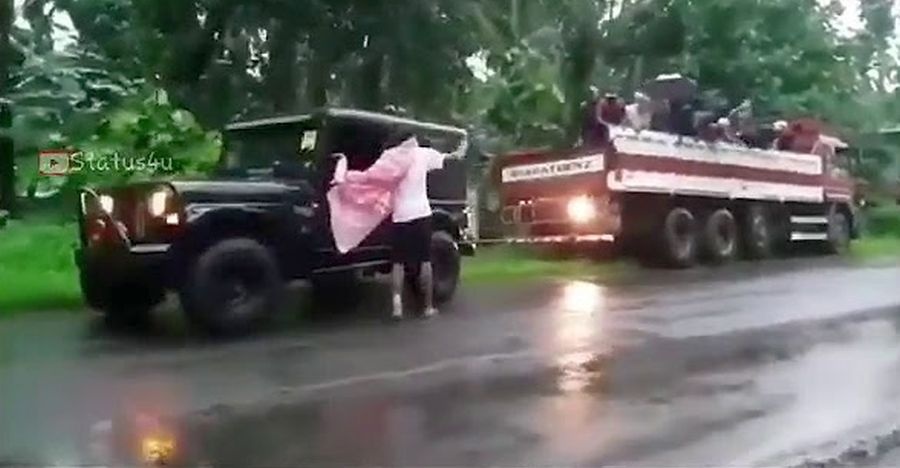 Mahindra Thar 4X4 shows off its BRUTE torque by rescuing a Bharat Benz truck [Video]
