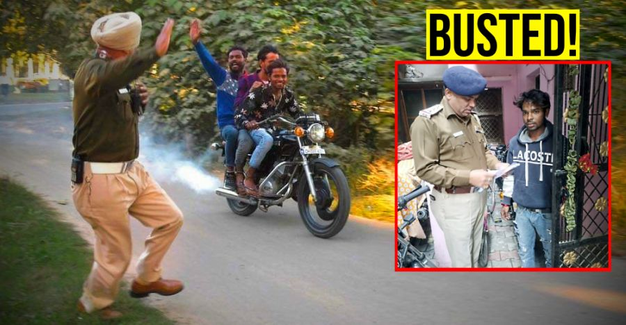 Triple riders mock at cops & escape: Caught & fined Rs. 14,500!
