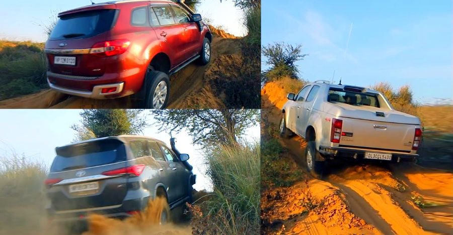 Isuzu V-Cross with differential locks makes it look easy while the Toyota Fortuner & Ford Endeavour struggle [Video]