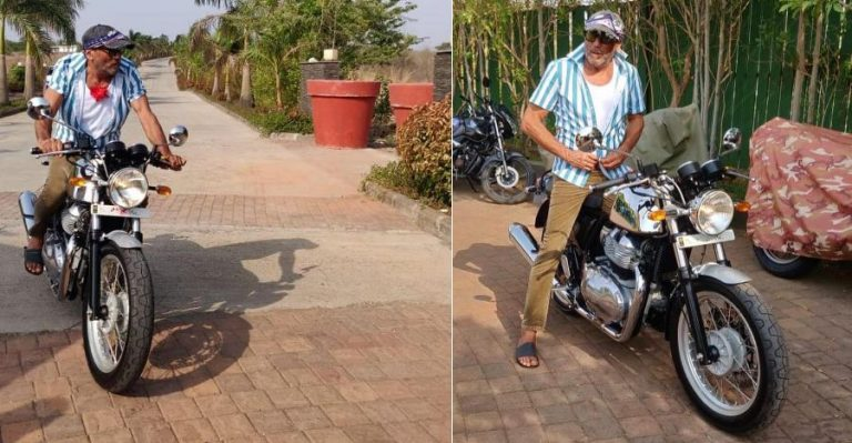 Jackie Shroff With His Royal Enfield Continental Gt650 Featured