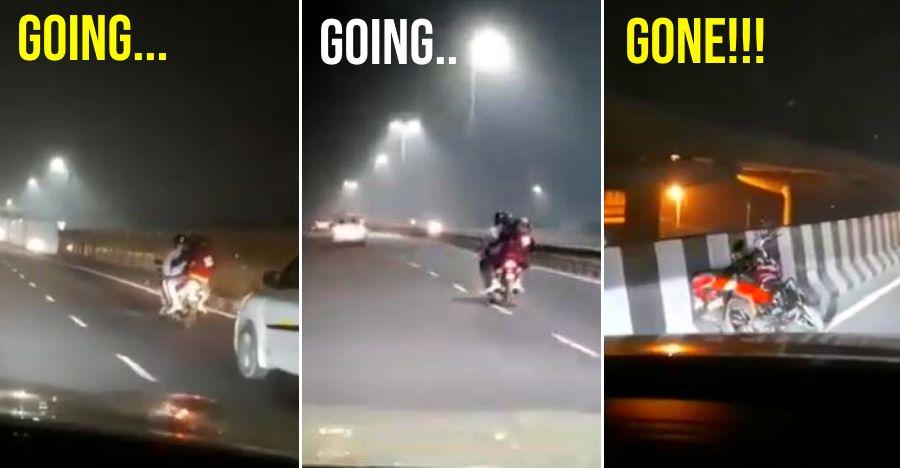 Drunk bikers riding triples swerve & crash on Video