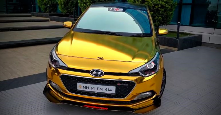 Hyundai Elite i20 with Predator Body Kit and gold wrap is a head turner [Video]