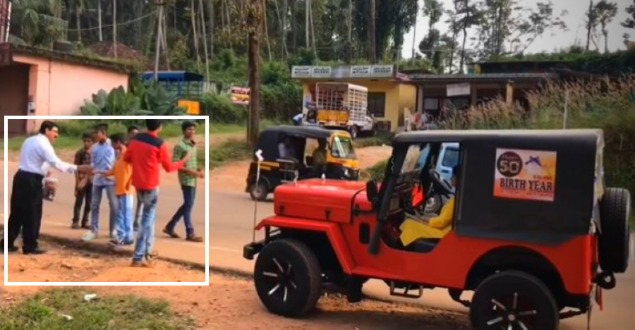 Man & son celebrate 50th birthday of Mahindra Jeep CJ3B: Distribute sweets to entire town [Video]