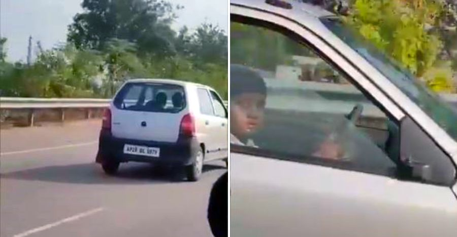 10 year-old kid spotted driving car on Ring Road: Cops issue challan [Video]