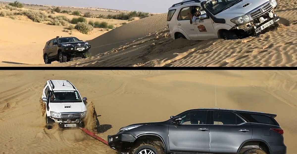 Isuzu V-Cross & new Toyota Fortuner get STUCK: Old Fortuner winches them out [Video]