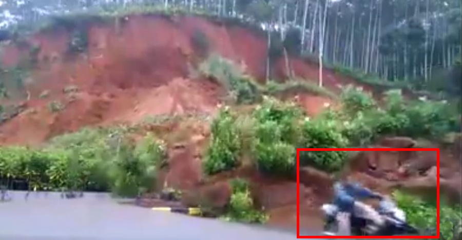 Scooterist narrowly escapes getting buried under landslide [Video]