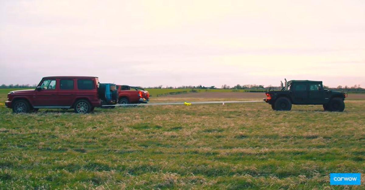 Hummer H1 vs Mercedes G63, Suzuki Jimny & Mitsubishi L200 pickup in a Tug of war [video]