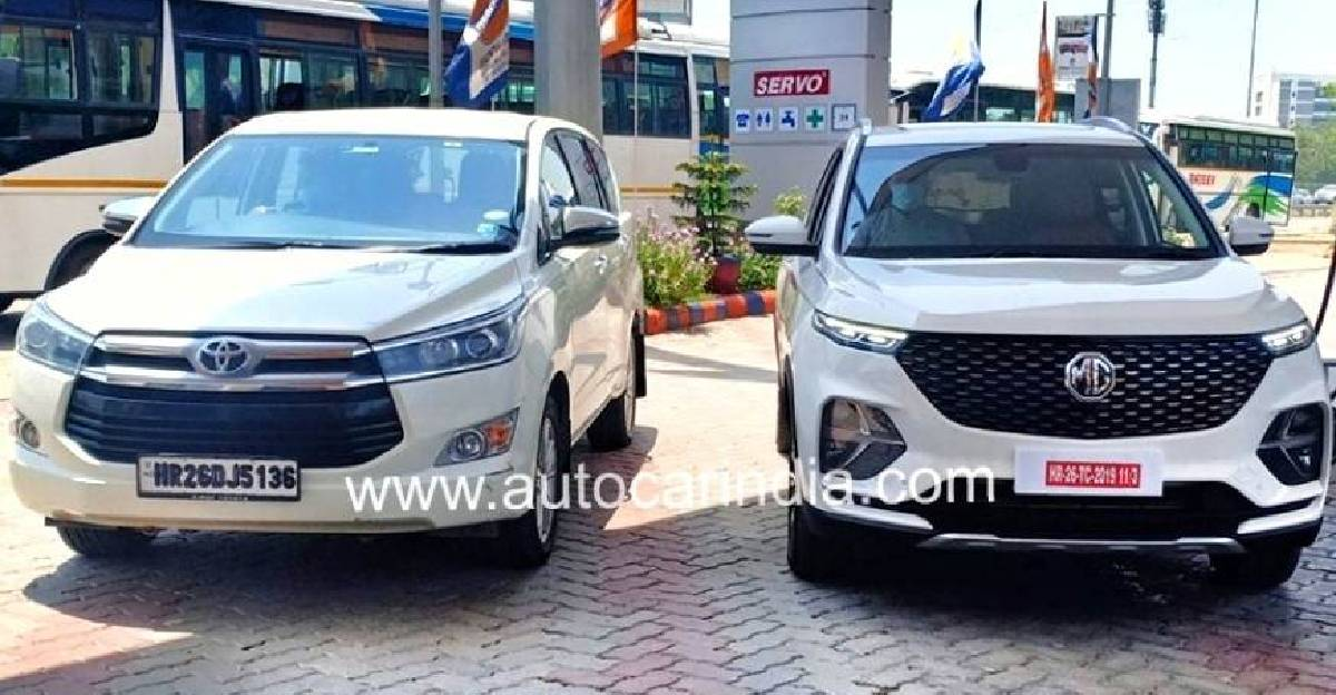 MG Hector Plus to take on the Toyota Innova Crysta: Pictured together for the first time