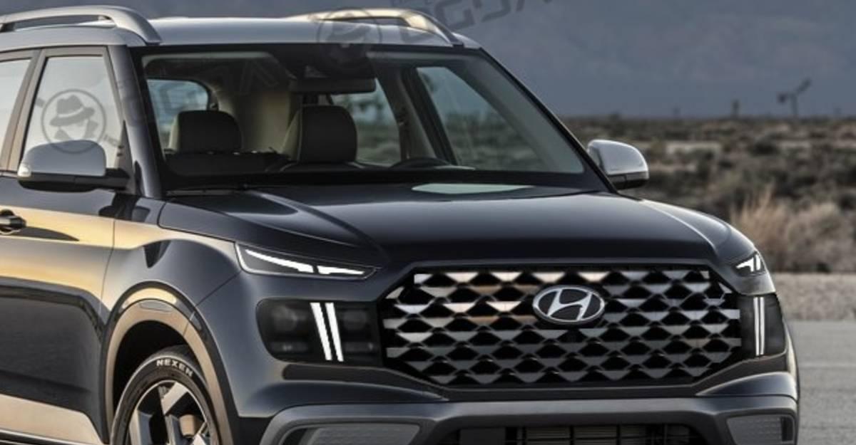 Hyundai Venue Facelift with Santa-Fe design looks aggressive & sporty