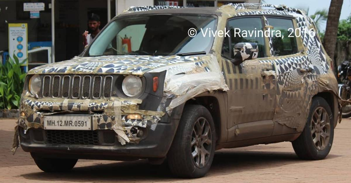 Upcoming Jeep Renegade sub-4 meter compact SUV caught testing in India