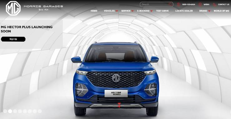 MG Hector Plus listed on the official website before launch