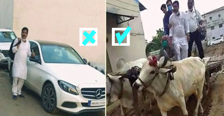 Bad roads: Mercedes owner uses bullock cart to reach office [Video]