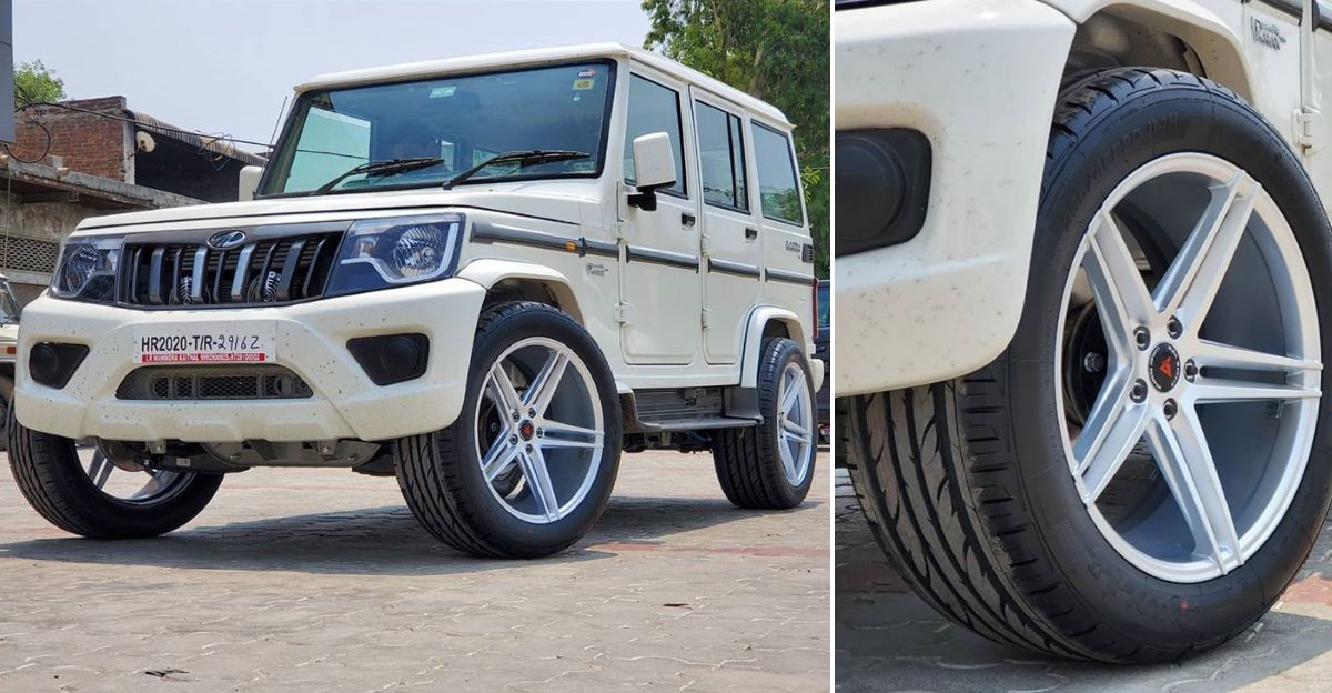 Mahindra Bolero with 20 inch wheels wants to be a Mercedes G-Wagen!