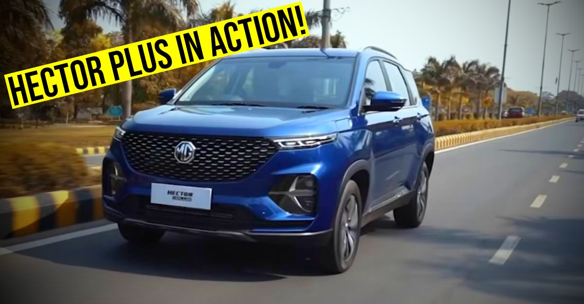 MG Hector Plus: Spotted uncamouflaged on Indian roads for the 1st time ahead of launch [Video]
