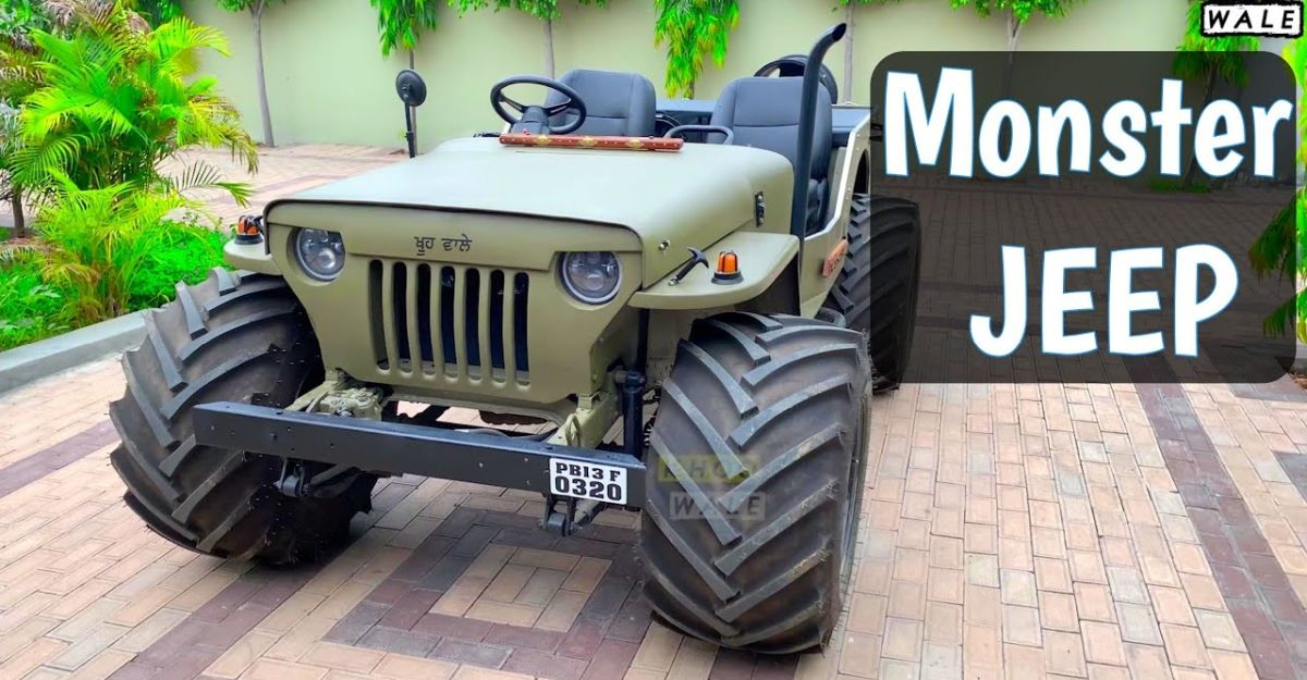 This modified open top Jeep with fat tyres looks crazy [Video]