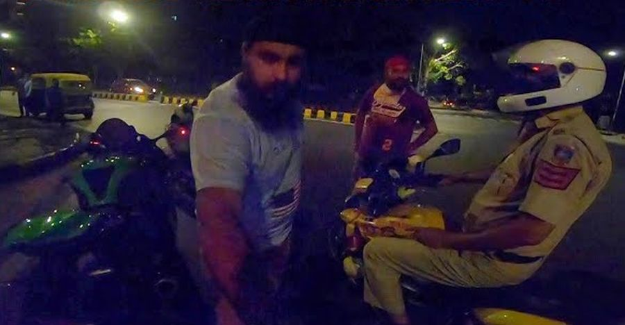 Drunk riders on Honda Activa challenge Kawasaki superbike to a race: Cop watches [Video]