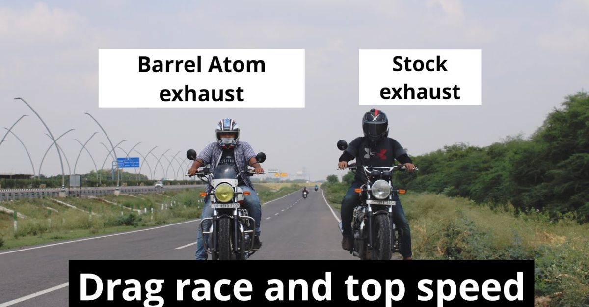 Royal Enfield Interceptor 650 Stock vs Aftermarket exhaust in a drag race [video]