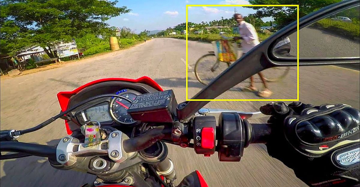 Triumph Street Triple at 215 km/h has a NEAR MISS with a cyclist: Life-saving ABS at work [Video]