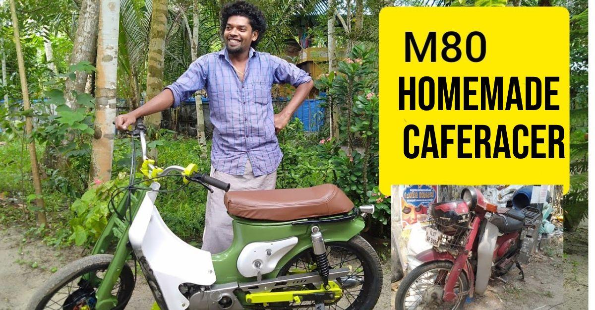 Rusting Bajaj M80 gets transformed into a home-made cafe racer [Video]