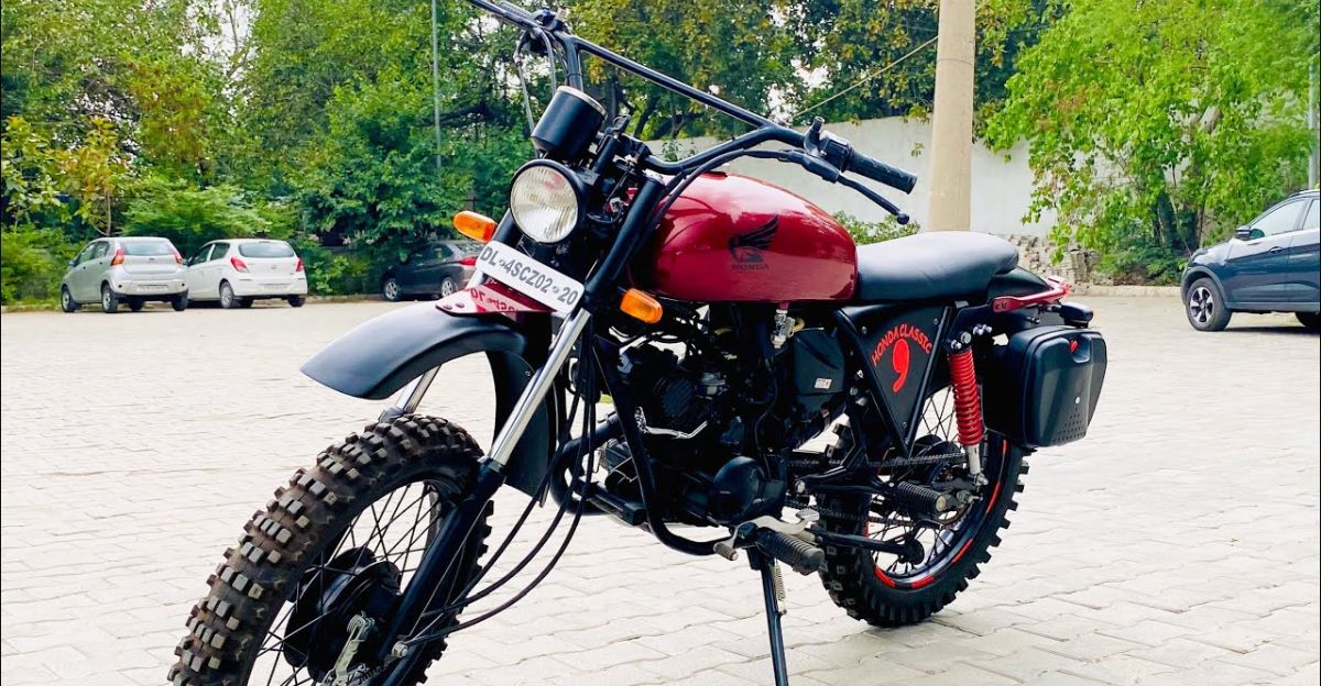 This dirt bike is actually a modified Hero Passion Xpro commuter motorcycle