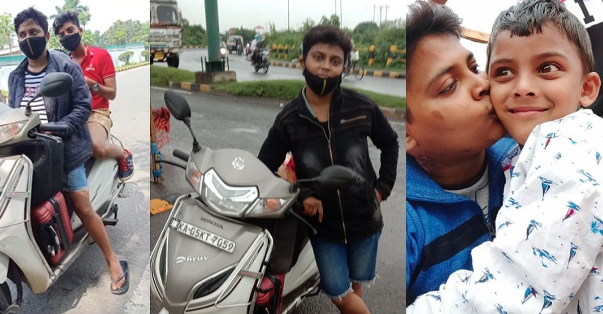 Mom rides Honda Activa 1800 kms to meet her sick son