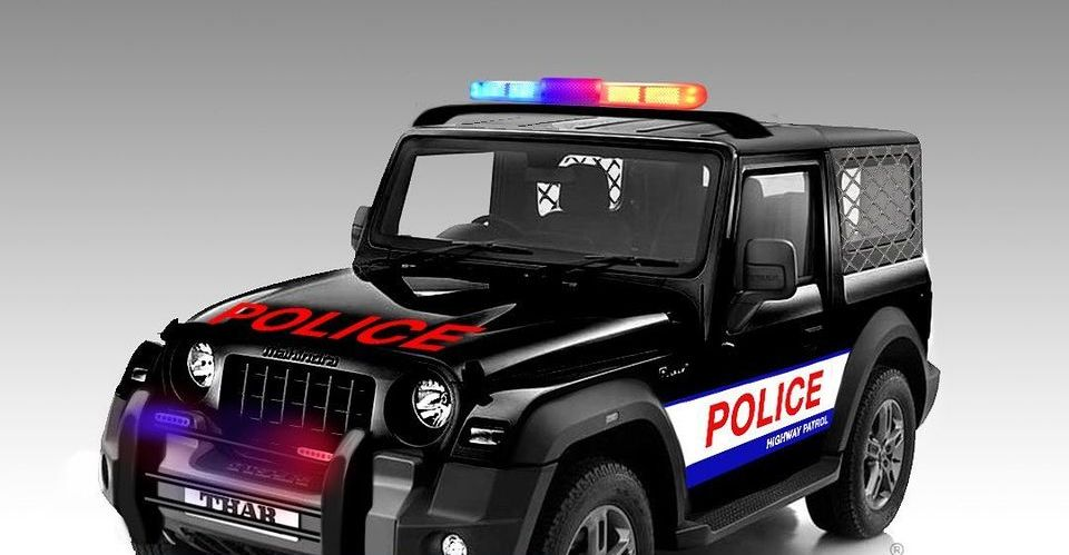 All-new 2020 Mahindra Thar imagined as a Police Jeep