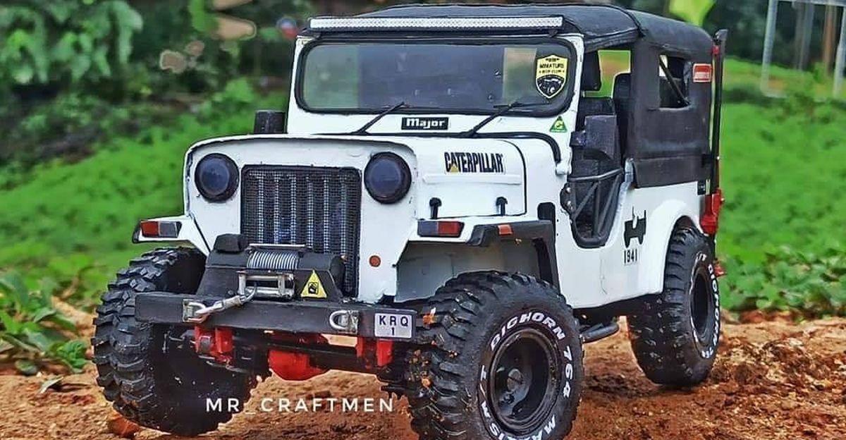 This modified Mahindra Major jeep is actually a handmade miniature model