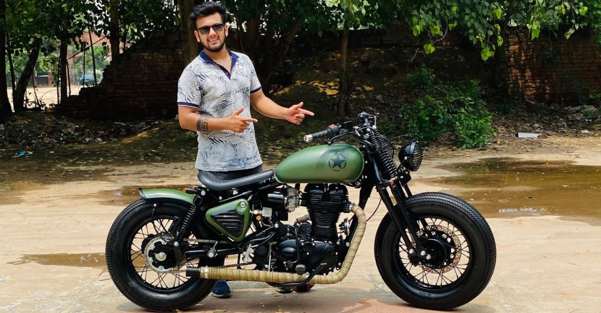 This beautifully modified Royal Enfield gets a Springer fork [Video]