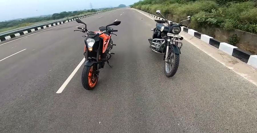 Can a KTM Duke 125 BEAT the Royal Enfield Classic 350 in a drag race? [Video]