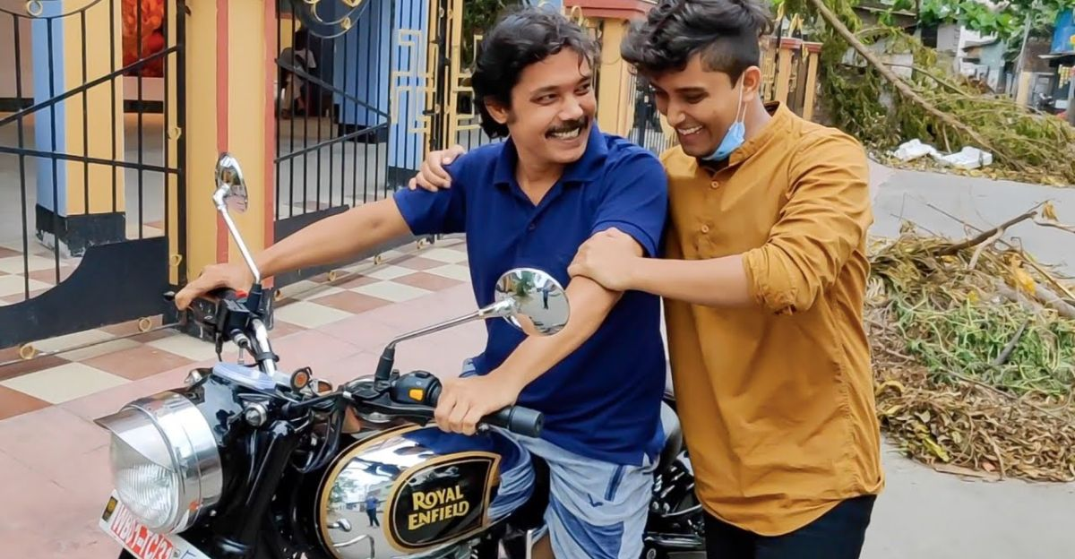 Son surprises dad with a Royal Enfield gift: Happiness all around [Video]