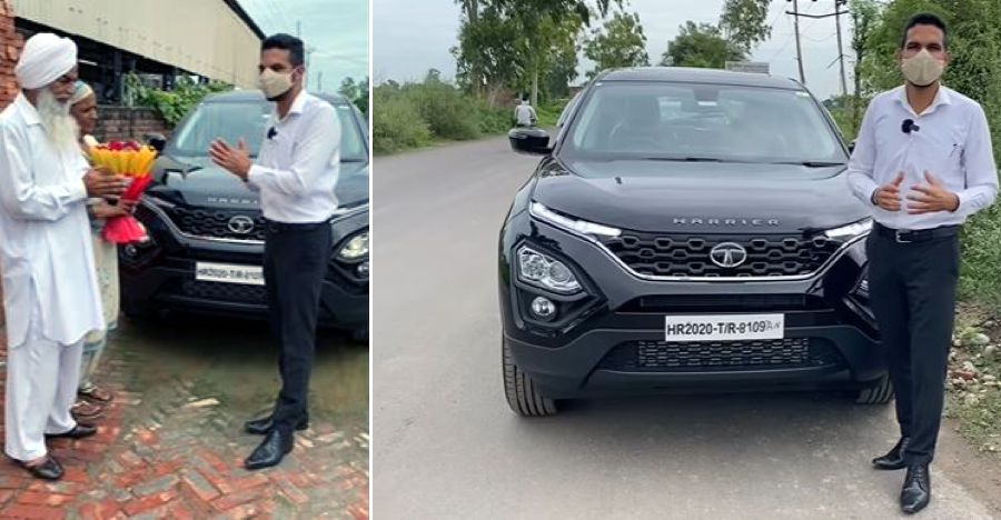 Son in the United Kingdom gifts Tata Harrier Automatic SUV to dad in Punjab [Video]