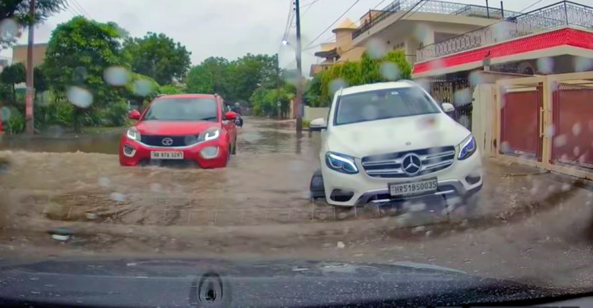 Tata Nexon crosses flooded road like a BOSS even as a Volvo XC90 gets STUCK [Video]