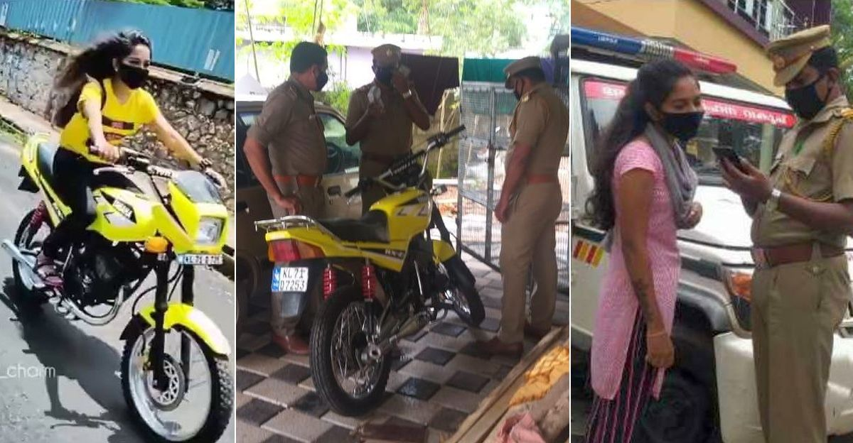 Woman biker on a Yamaha RX-Z BUSTED by MVD for breaking rules [Video]